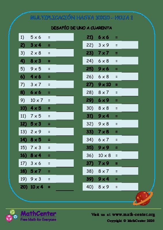 Multiplicación Hasta 10X10 Hoja 1