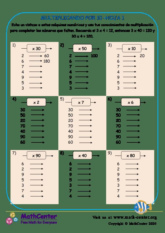 Multiplicando Por 10 Hoja 1