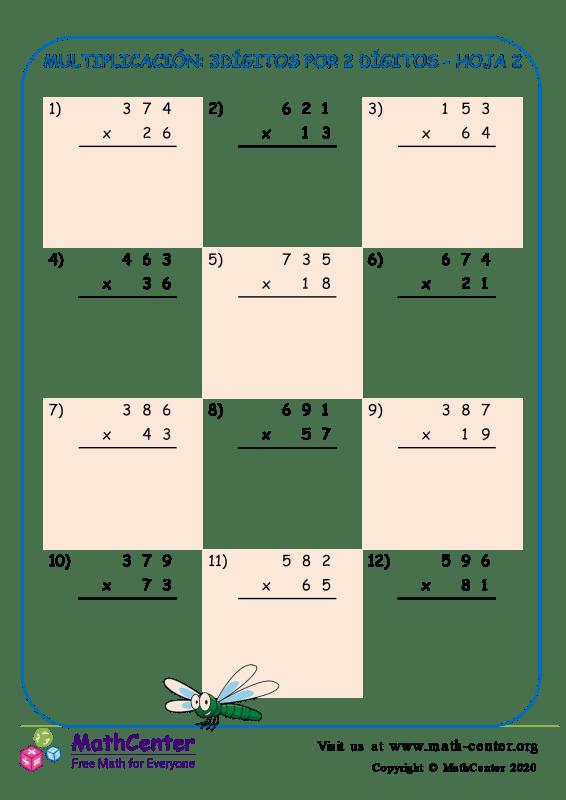 Multiplicación: 3Dígitos Por 2 Dígitos Hoja 2