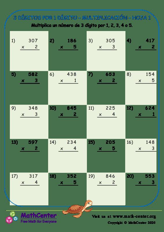 3 Dígitos Por 1 Dígito - Multiplicación - Hoja 1