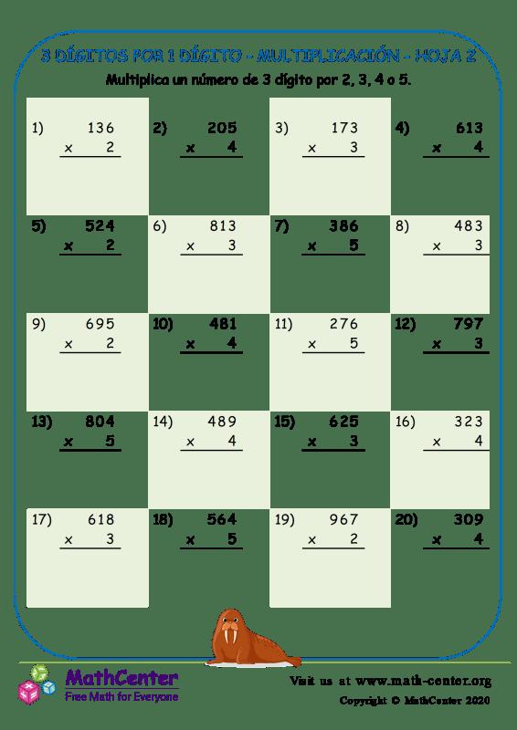 3 Dígitos Por 1 Dígito - Multiplicación - Hoja 2