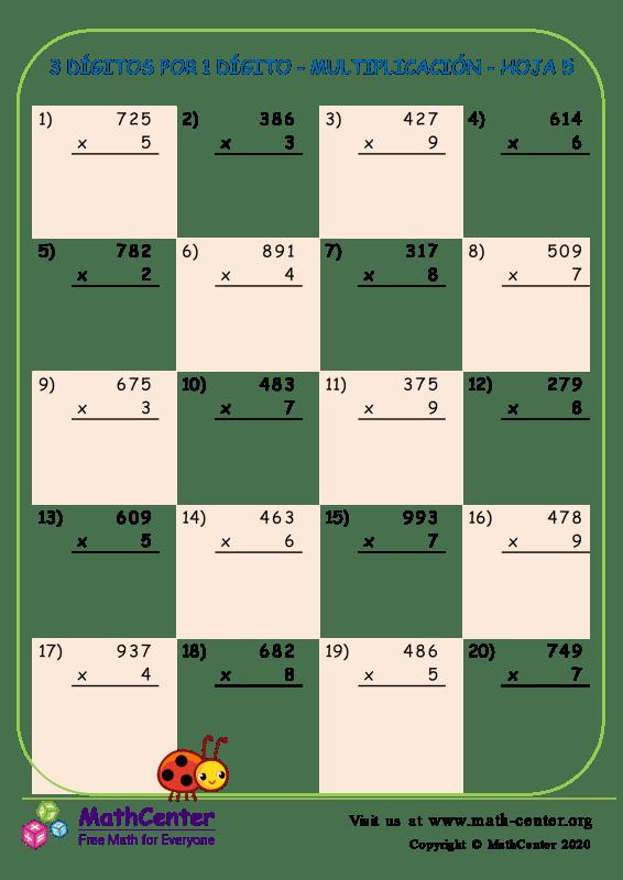 3 Dígitos Por 1 Dígito - Multiplicación - Hoja 5