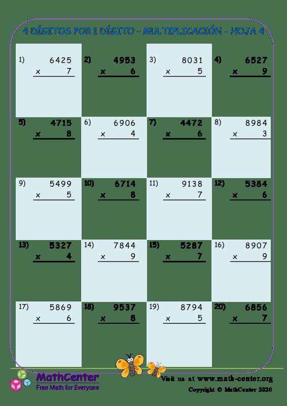 4 Dígitos Por 1 Dígito - Multiplicación - Hoja 4