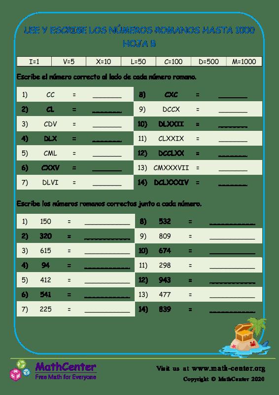 Leer y escribir números romanos hasta 1000
