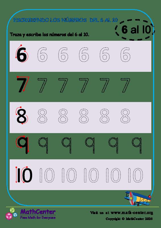Escribiendo los números del 6 al 10