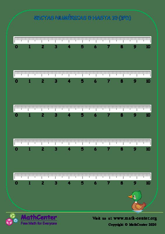 Rectas Numéricas 0 Hasta 10 (1Pd)