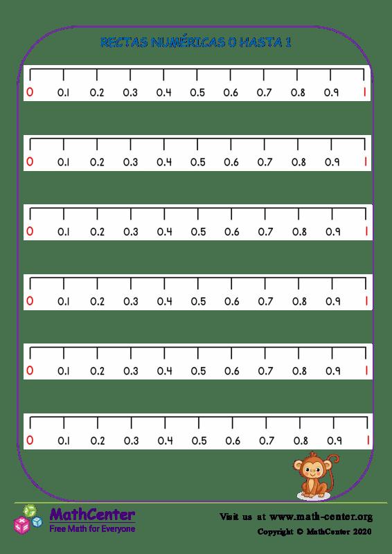 Rectas numéricas: Del 0 al 1 N°2