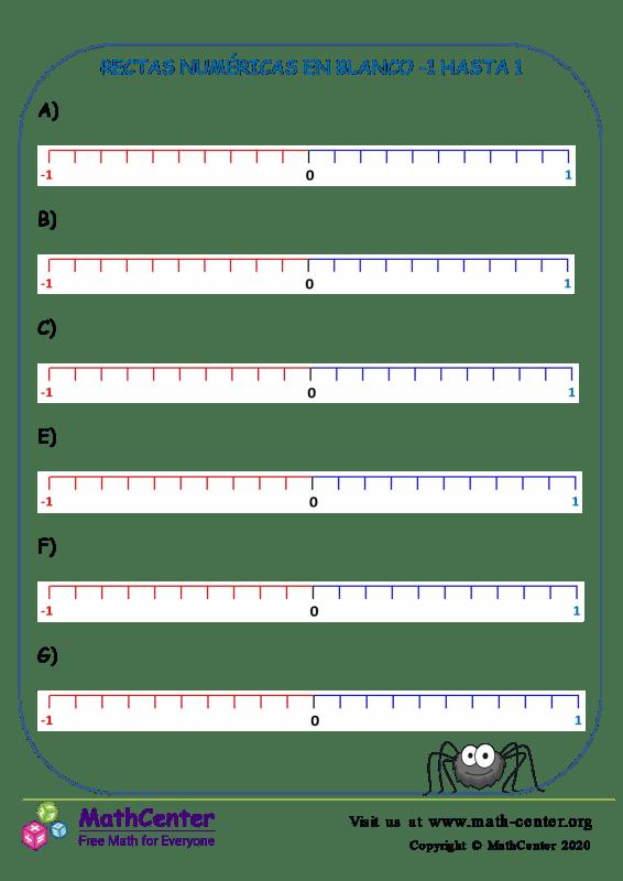 Recta numérica: Del -1 hasta 1 N° 4