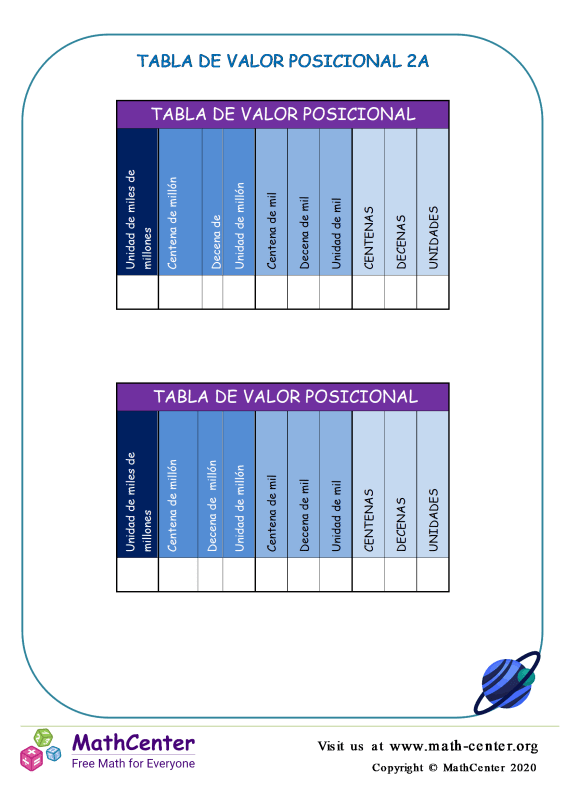 Tabla De Valor Posicional 2A