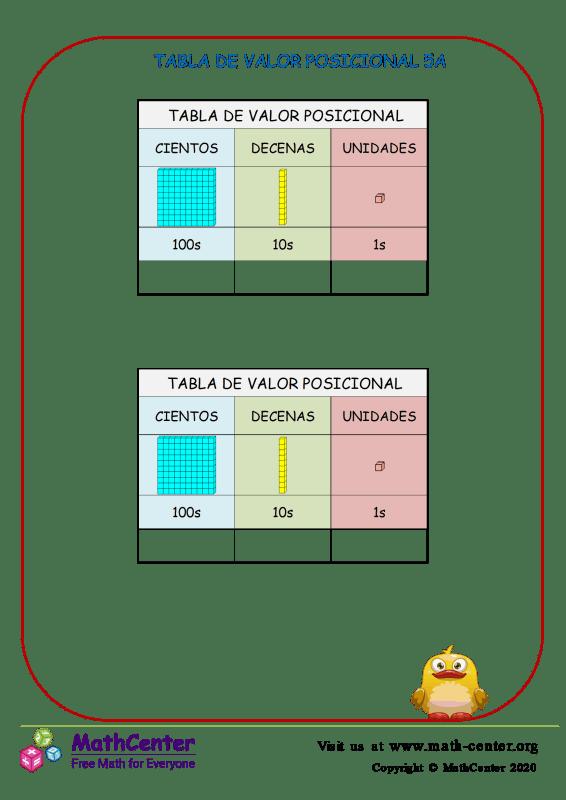 Tabla De Valor Posicional 5A