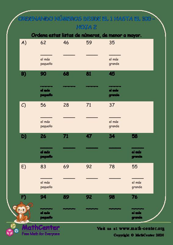 Ordenando Números Desde El 1 Hasta El 100 Hoja 2