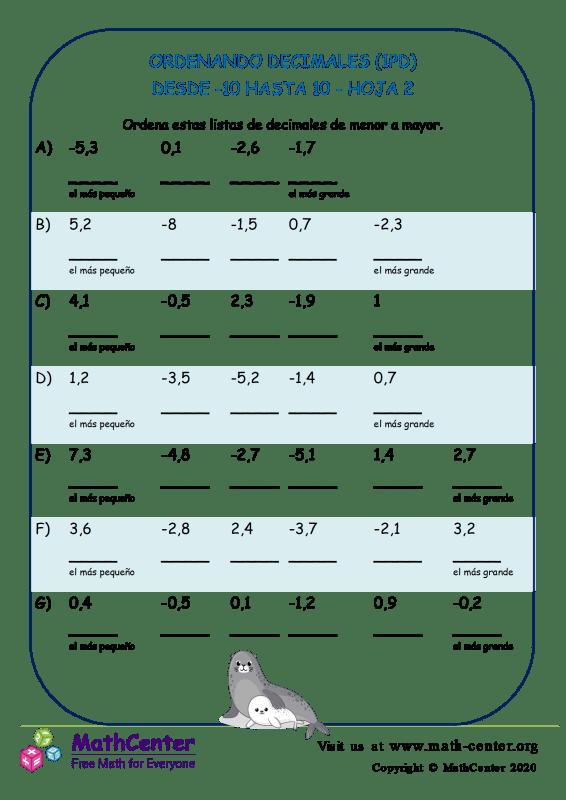 Ordenando Decimales (1Pd) Desde -10 Hasta 10 Hoja 2