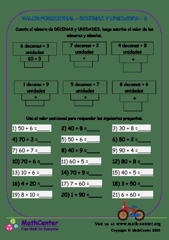 Valor Posicional - Decenas Y Unidades 6
