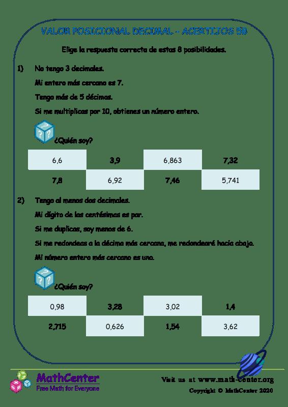 Valor Posicional Decimal Acertijos 5B