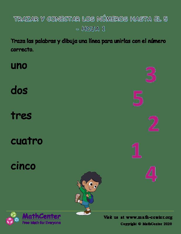 Trazar Y Conectar Los Números Hasta El 5 Hoja 1