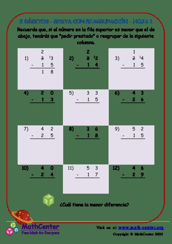 2 Dígito - Resta Con Reagrupación - Hoja 1
