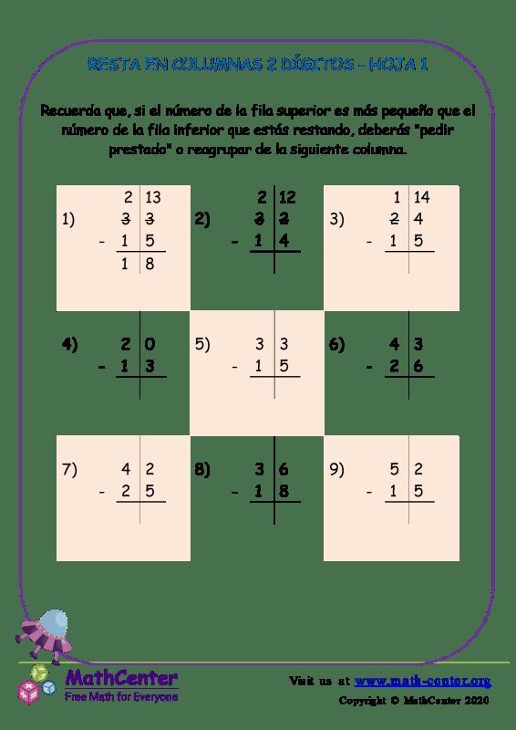 Resta En Columna 2-Dígitos Hoja 1