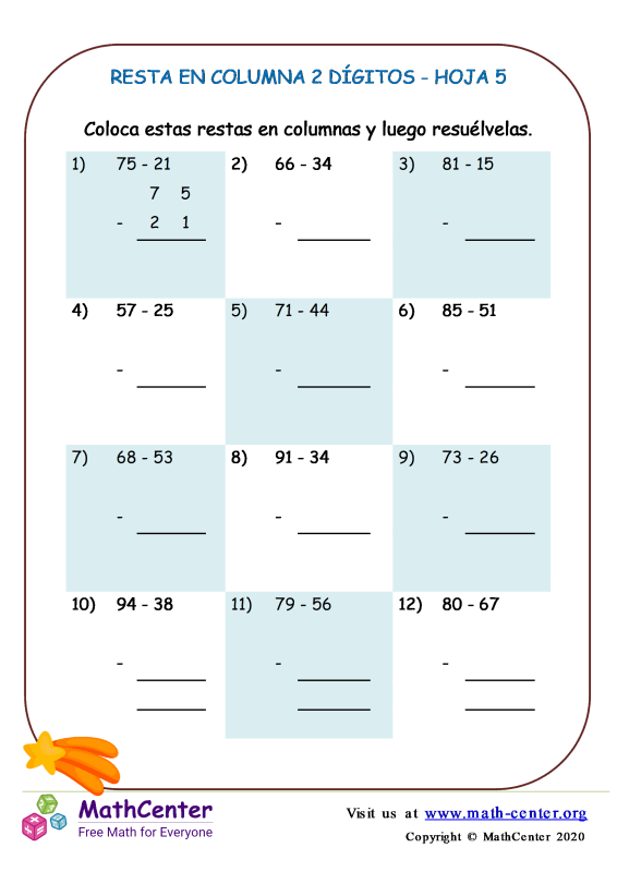 Resta En Columna 2-Dígitos Hoja 5