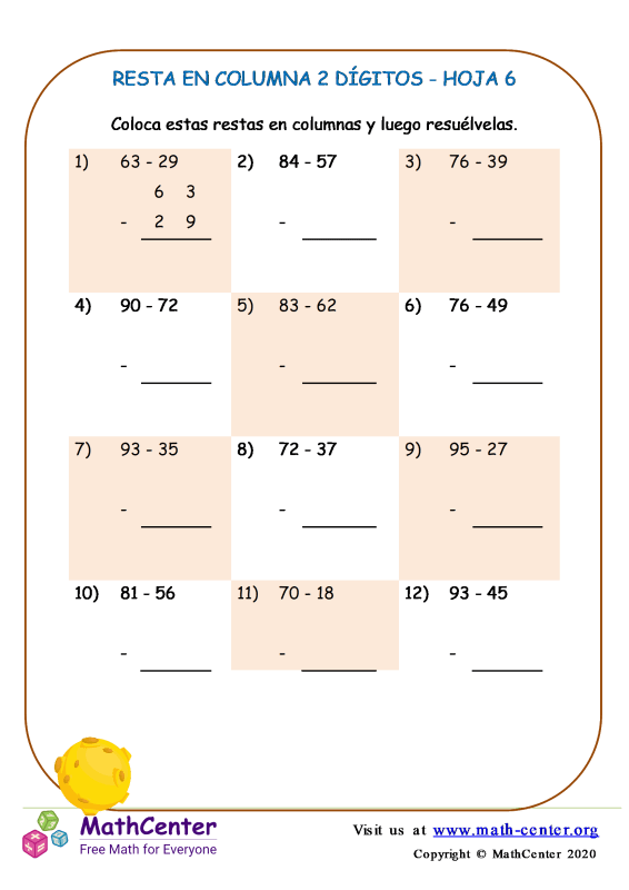 Resta En Columna 2-Dígitos Hoja 6