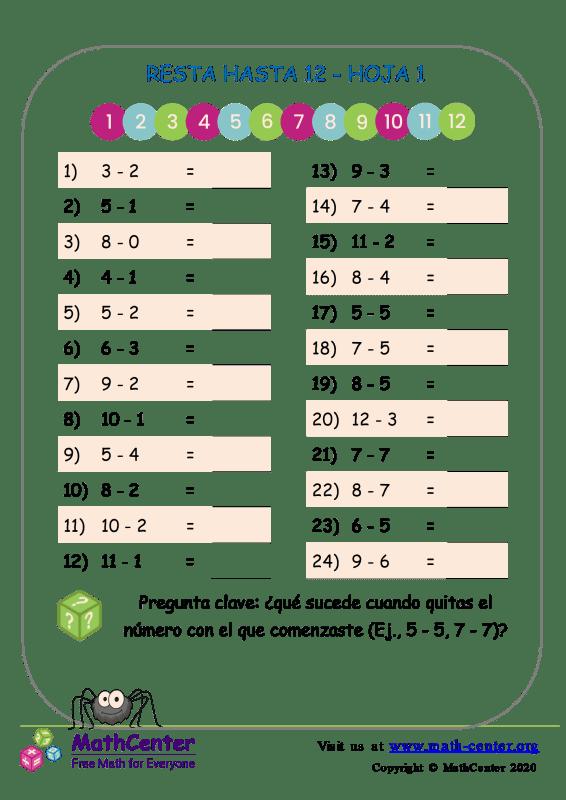 12 Resta hasta 12 - Hoja 1
