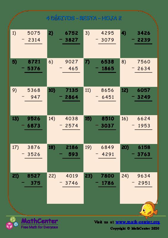 4 Dígito - Resta - Hoja 2