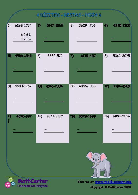 4 Dígito - Resta - Hoja 6