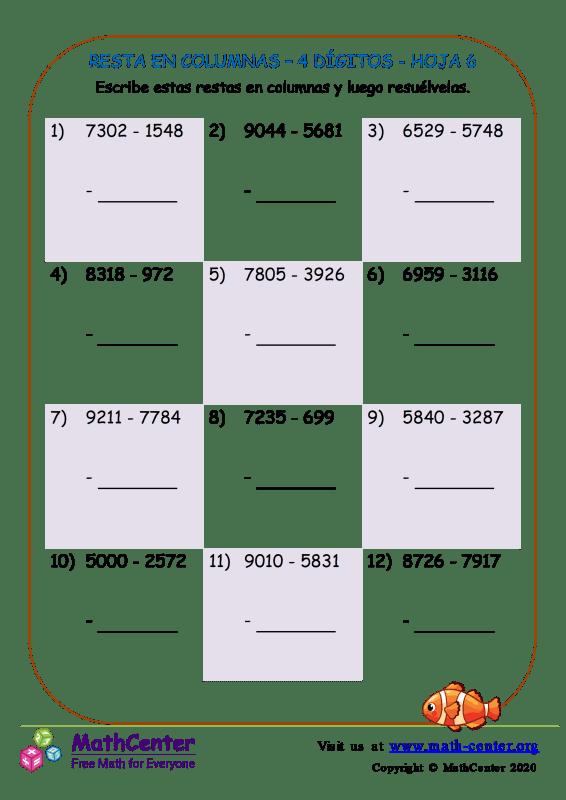 Resta En Columna 4-Dígitos Hoja 6