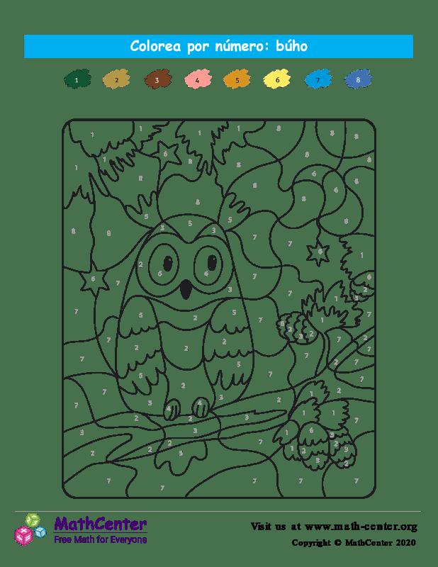 Colorear por números - Búho