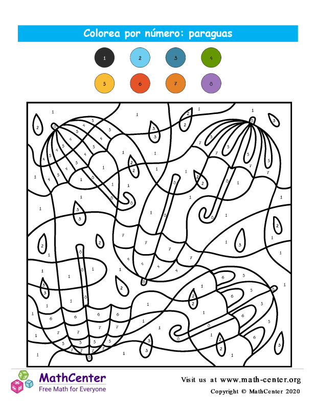 Colorear por números - Paraguas