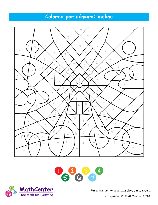 Colorear por números - Molino de viento