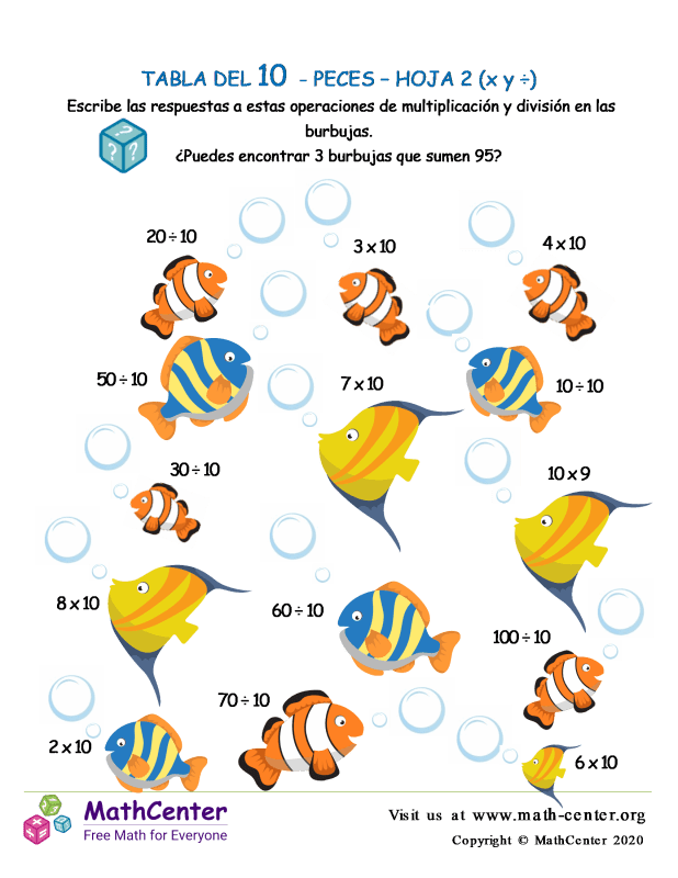 10 Tabla de multiplicar - Peces - Hoja 2 (X y ÷)