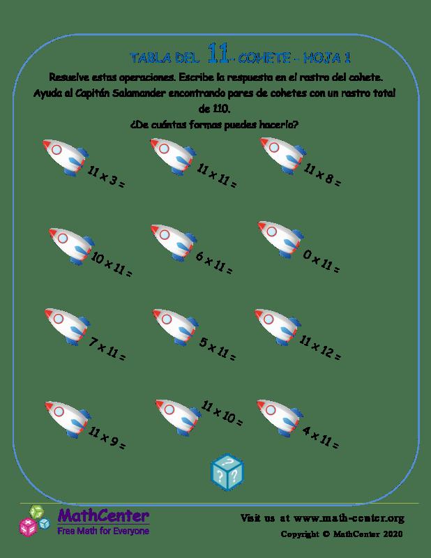 11 Tabla de multiplicar - Cohete - Hoja 1