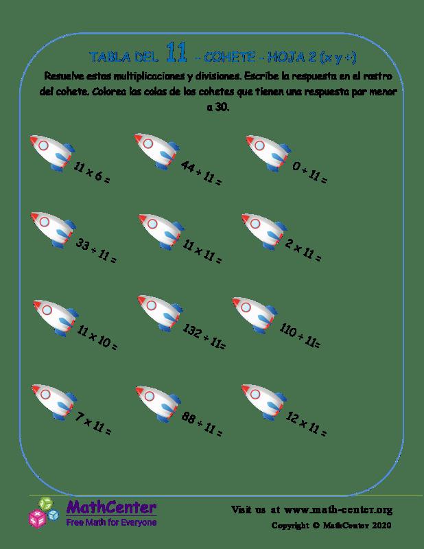 11 Tabla de multiplicar - Cohete - Hoja 2 (X y ÷)