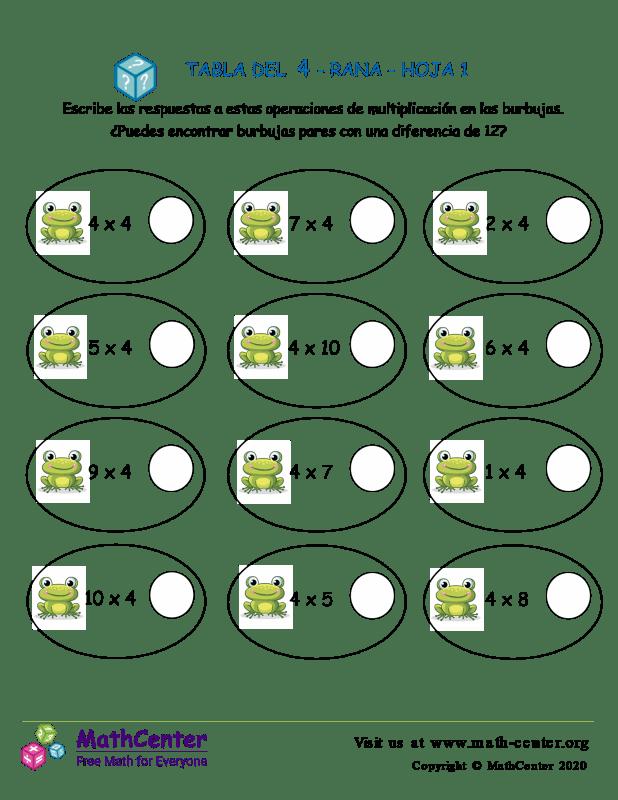 4 Tabla de multiplicar - Rana - Hoja 1