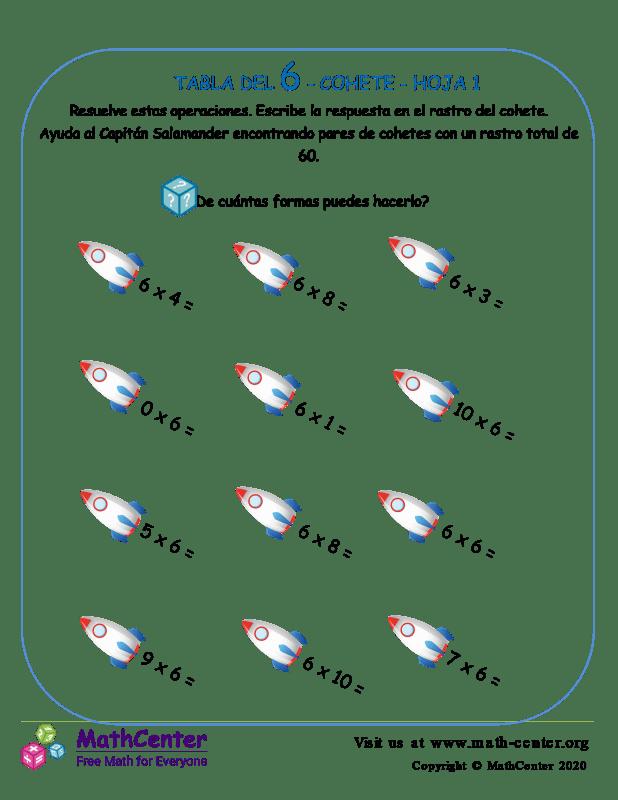 6 Tabla de multiplicar - Cohete - Hoja 1