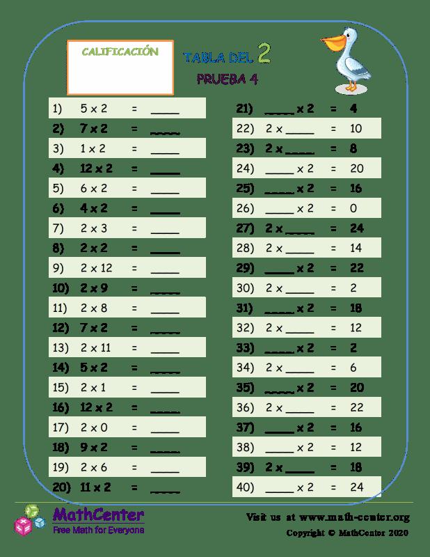 2 Prueba de tablas de multiplicar 4