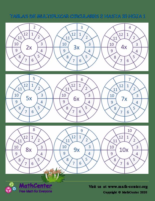 Tablas De Multiplicar Circulares 2 Hasta 10 Hoja 1
