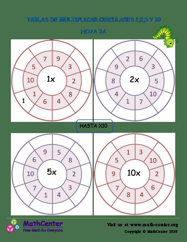 Tablas De Multiplicar Circulares 1,2,5 Y 10 Hoja 3A