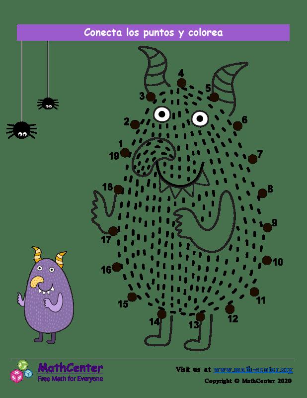 Conecta los puntos Hasta 19 - Monstruo