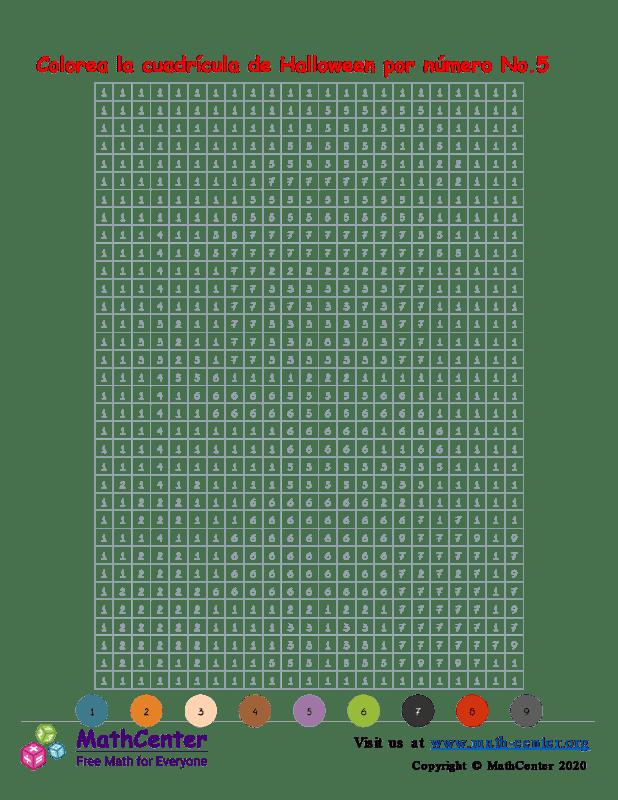 Cuadrícula para Colorear por números - Halloween N° 5