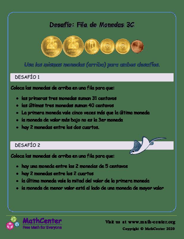 Pon en fila las monedas (3C) (Argentina)