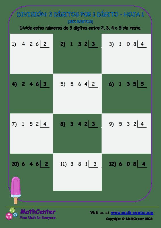 División: 3 Dígitos Por 1 Dígito Hoja 1 (Sin Restos)