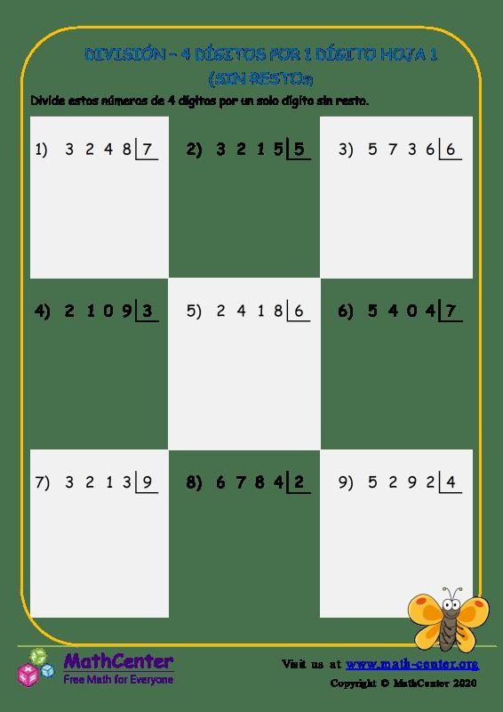 División – 4 Dígitos Por 1 Dígito Hoja 1 (Sin Restos)