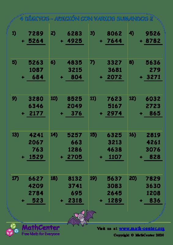4 Dígito - Adición Con Varios Sumandos 2