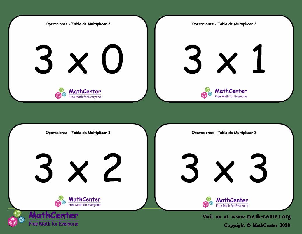 3 Tarjetas didácticas de multiplicaciones con Respuestas