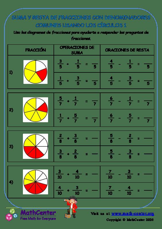 Sumar y restar fracciones con comunes denominadores (círculos) - Hoja 1