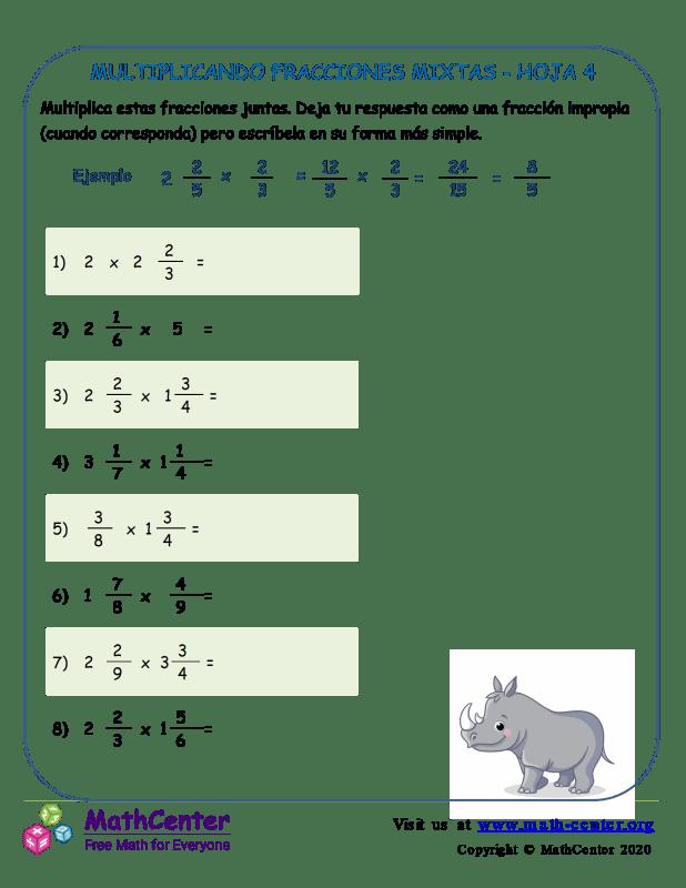 Multiplicando Fracciones Mixtas Hoja 4