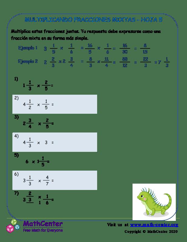 Multiplicando Fracciones Mixtas Hoja 5