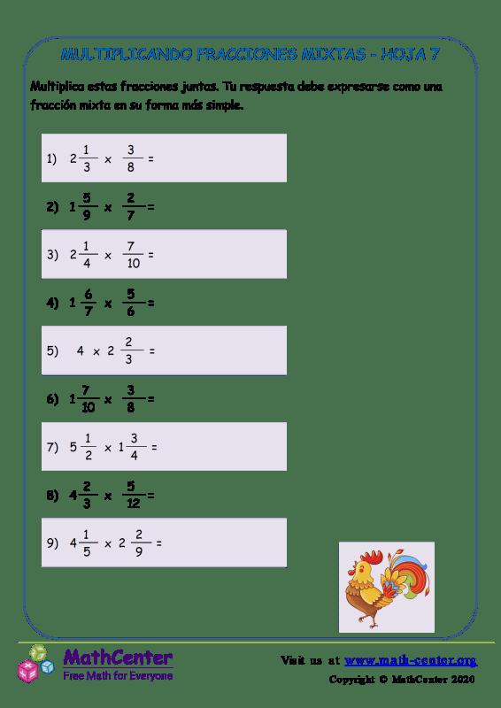 Multiplicando Fracciones Mixtas Hoja 7