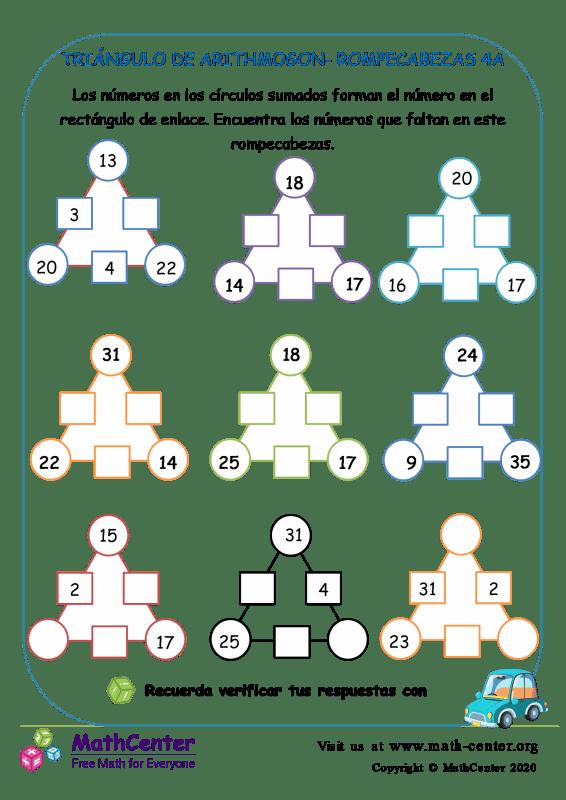 Triángulo De Arithmogon- Rompecabezas 4A